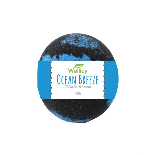 Ocean breeze bath bomb with label grande - 100mg Ocean Breeze CBD Bath Bomb