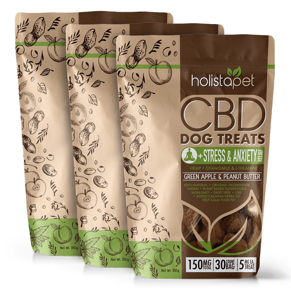 HolistaPet Stress and Anxiety CBD Dog Treats Bundle - Bundle & Save: 3 CBD Dog Treats +Stress & Anxiety Relief