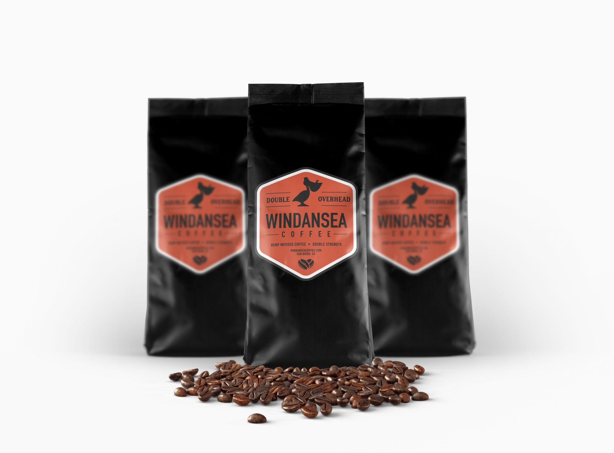 WindanseaCoffee Packaging Mockup DoubleOverhead 08 15 19 - 12oz Double Overhead CBD Coffee - Double Strength (Whole Bean)