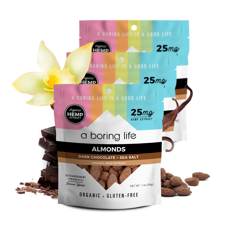 3 Pack 1 - Dark Chocolate Almonds with Sea Salt, Pack of 3