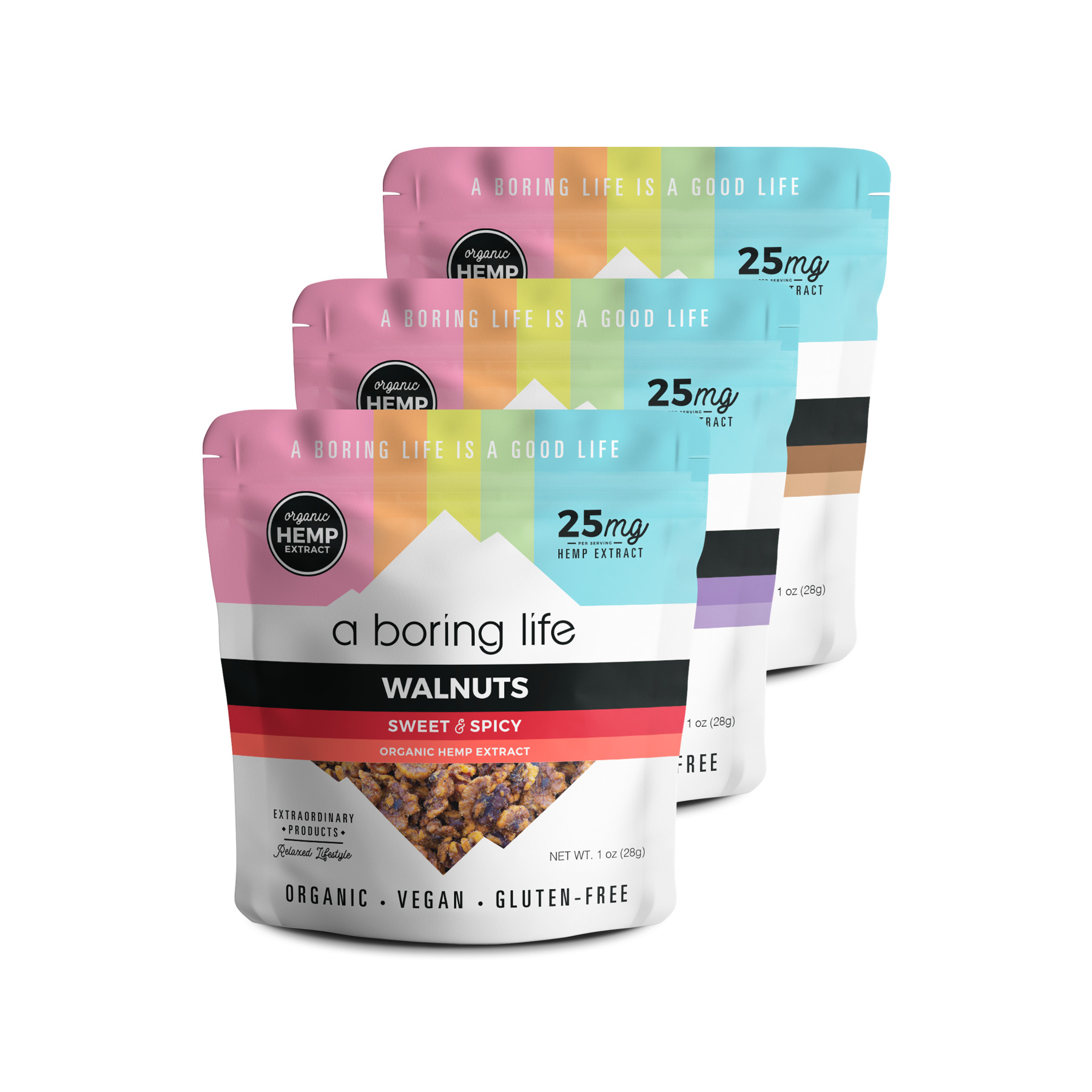 hemp extract cbd variety pack snacks a boring life - Variety Sampler – All Three Flavors of Nuts, Pack of 3