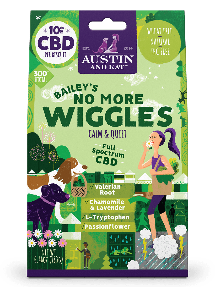 austin and kat anxiety formula dog treats front grande@2x - Bailey's No More Wiggles Dog Biscuits